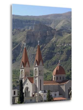 St. Saba Church, Red Tile Roofed Town, Bcharre, Qadisha Valley, North Lebanon, Middle East-Christian Kober-Metal Print