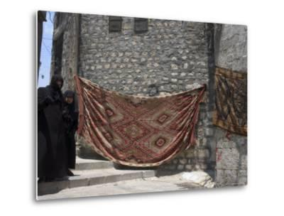 Local Woman Walking Down Steps, Blanket on Wall, Aleppo (Haleb), Syria, Middle East-Christian Kober-Metal Print