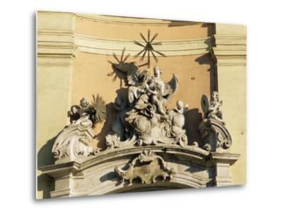 Facade Detail of City's Finest Baroque Church of Holy Trinity, Bratislava, Slovakia-Richard Nebesky-Metal Print
