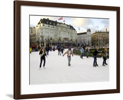 Hotel d'Angleterre and Skating Rink, Kongens Nytorv at Christmas, Copenhagen, Denmark-Sergio Pitamitz-Framed Photographic Print