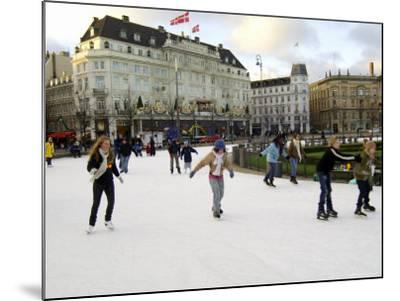 Hotel d'Angleterre and Skating Rink, Kongens Nytorv at Christmas, Copenhagen, Denmark-Sergio Pitamitz-Mounted Photographic Print