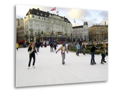 Hotel d'Angleterre and Skating Rink, Kongens Nytorv at Christmas, Copenhagen, Denmark-Sergio Pitamitz-Metal Print