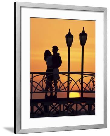 Couple on Bridge, Aruba, West Indies, Dutch Caribbean, Central America-Sergio Pitamitz-Framed Photographic Print