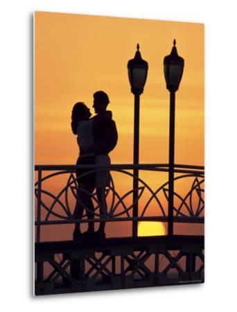 Couple on Bridge, Aruba, West Indies, Dutch Caribbean, Central America-Sergio Pitamitz-Metal Print