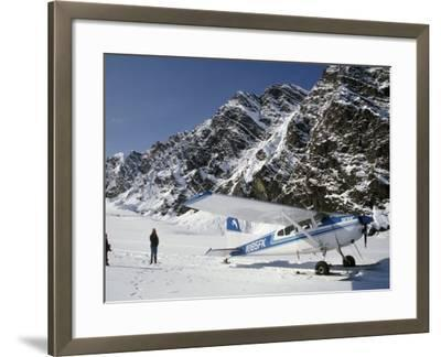 Small Plane Landed on Glacier in Denali National Park, Alaska, USA-James Gritz-Framed Photographic Print