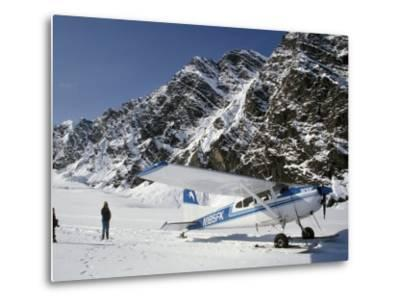 Small Plane Landed on Glacier in Denali National Park, Alaska, USA-James Gritz-Metal Print
