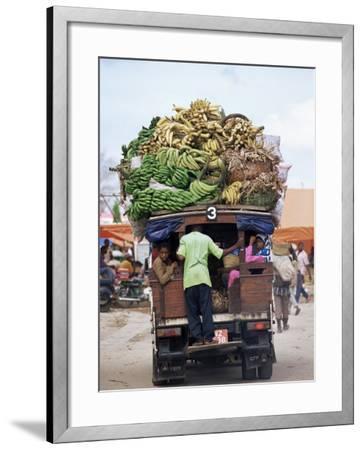 Van Loaded with Bananas on Its Roof Leaving the Market, Stone Town, Zanzibar, Tanzania-Yadid Levy-Framed Photographic Print