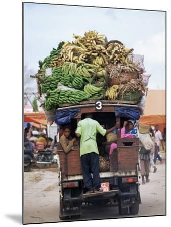 Van Loaded with Bananas on Its Roof Leaving the Market, Stone Town, Zanzibar, Tanzania-Yadid Levy-Mounted Photographic Print