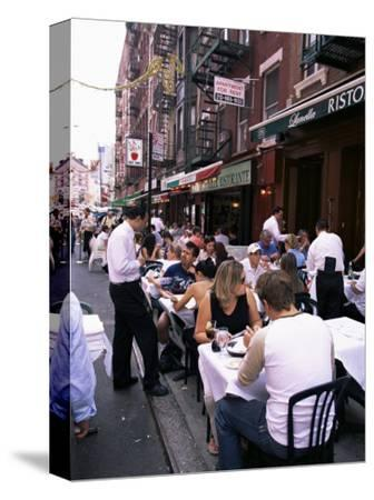 People Sitting at an Outdoor Restaurant, Little Italy, Manhattan, New York State-Yadid Levy-Stretched Canvas Print