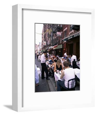 People Sitting at an Outdoor Restaurant, Little Italy, Manhattan, New York State-Yadid Levy-Framed Photographic Print