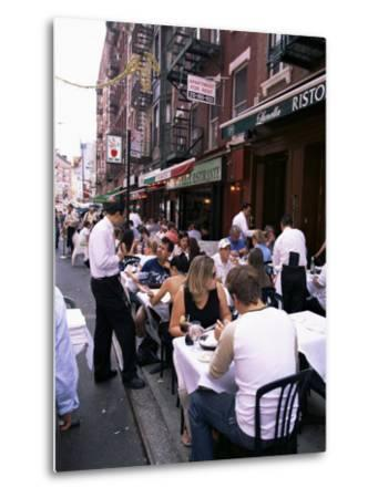 People Sitting at an Outdoor Restaurant, Little Italy, Manhattan, New York State-Yadid Levy-Metal Print