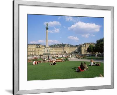 Schlossplatz, King Wilhelm Jubilee Column, Neues Schloss, Stuttgart, Baden Wurttemberg, Germany-Yadid Levy-Framed Photographic Print