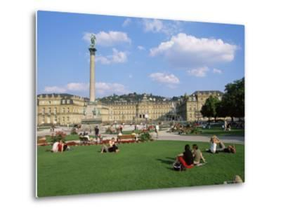 Schlossplatz, King Wilhelm Jubilee Column, Neues Schloss, Stuttgart, Baden Wurttemberg, Germany-Yadid Levy-Metal Print