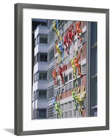 Flossies Figures Covering a Building Facade at the Medienhafen, Dusseldorf, North Rhine Westphalia-Yadid Levy-Framed Photographic Print