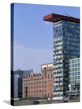 The Colorium Building by William Alsop at the Medienhafen, Dusseldorf, North Rhine Westphalia-Yadid Levy-Stretched Canvas Print