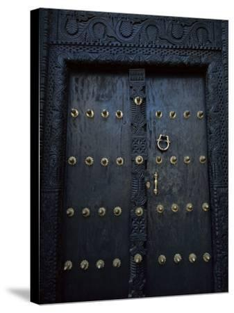 Traditional Carved Wooden Door in Stone Town, Zanzibar, Tanzania, East Africa, Africa-Yadid Levy-Stretched Canvas Print
