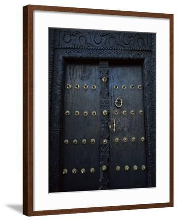 Traditional Carved Wooden Door in Stone Town, Zanzibar, Tanzania, East Africa, Africa-Yadid Levy-Framed Photographic Print