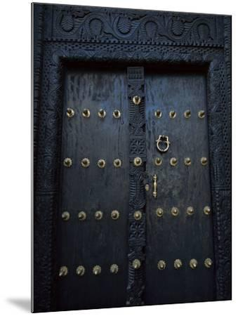 Traditional Carved Wooden Door in Stone Town, Zanzibar, Tanzania, East Africa, Africa-Yadid Levy-Mounted Photographic Print