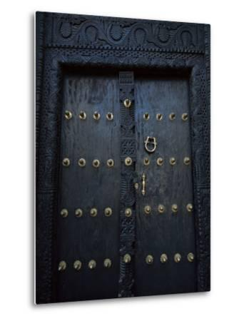 Traditional Carved Wooden Door in Stone Town, Zanzibar, Tanzania, East Africa, Africa-Yadid Levy-Metal Print