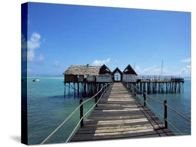 Bridge Leading to a Bar on the Water, Kiwengwa Beach, Zanzibar, Tanzania, East Africa, Africa-Yadid Levy-Stretched Canvas Print