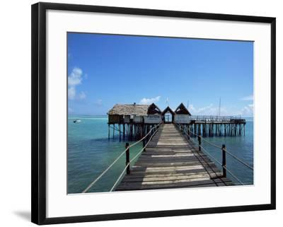 Bridge Leading to a Bar on the Water, Kiwengwa Beach, Zanzibar, Tanzania, East Africa, Africa-Yadid Levy-Framed Photographic Print