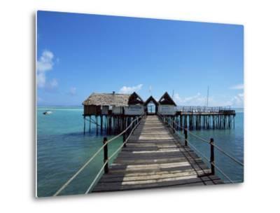 Bridge Leading to a Bar on the Water, Kiwengwa Beach, Zanzibar, Tanzania, East Africa, Africa-Yadid Levy-Metal Print