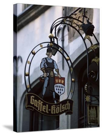 Decorated Sign of Locally Produced Beer Called Gaffel Kolsch in Old Town, North Rhine Westphalia-Yadid Levy-Stretched Canvas Print
