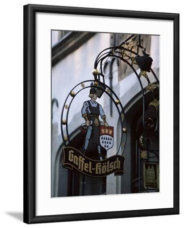 Decorated Sign of Locally Produced Beer Called Gaffel Kolsch in Old Town, North Rhine Westphalia-Yadid Levy-Framed Photographic Print