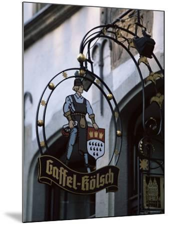 Decorated Sign of Locally Produced Beer Called Gaffel Kolsch in Old Town, North Rhine Westphalia-Yadid Levy-Mounted Photographic Print