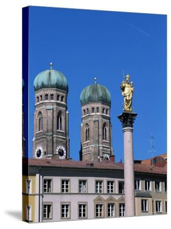 Frauenkirche Towers and Mariensaule (St. Mary's Column), Munich, Bavaria, Germany-Yadid Levy-Stretched Canvas Print