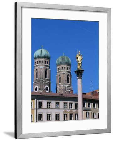 Frauenkirche Towers and Mariensaule (St. Mary's Column), Munich, Bavaria, Germany-Yadid Levy-Framed Photographic Print