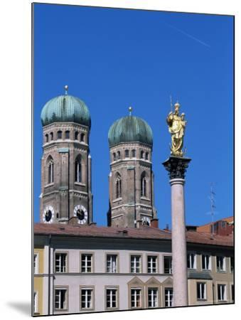 Frauenkirche Towers and Mariensaule (St. Mary's Column), Munich, Bavaria, Germany-Yadid Levy-Mounted Photographic Print
