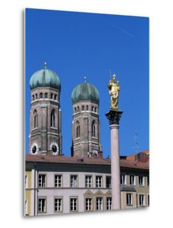 Frauenkirche Towers and Mariensaule (St. Mary's Column), Munich, Bavaria, Germany-Yadid Levy-Metal Print