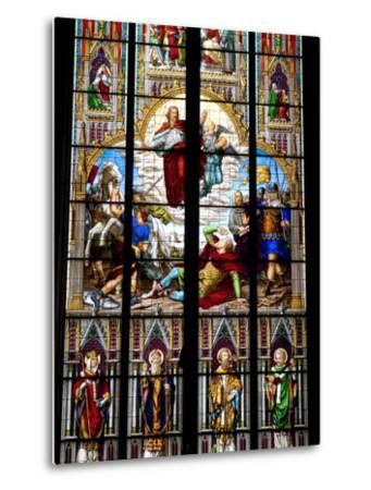 Stained Glass Windows in Cologne Cathedral, Cologne, North Rhine Westphalia, Germany-Yadid Levy-Metal Print