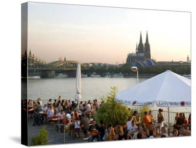 People at Trendy Rheinterrassen Bar and Restaurant Beside the River Rhine, Cologne, Germany-Yadid Levy-Stretched Canvas Print