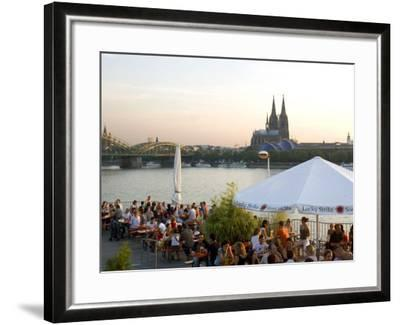 People at Trendy Rheinterrassen Bar and Restaurant Beside the River Rhine, Cologne, Germany-Yadid Levy-Framed Photographic Print