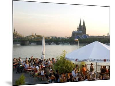 People at Trendy Rheinterrassen Bar and Restaurant Beside the River Rhine, Cologne, Germany-Yadid Levy-Mounted Photographic Print