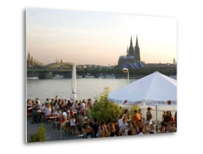 People at Trendy Rheinterrassen Bar and Restaurant Beside the River Rhine, Cologne, Germany-Yadid Levy-Metal Print