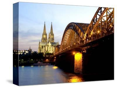 Cologne Cathedral and Hohenzollern Bridge at Night, Cologne, North Rhine Westphalia, Germany-Yadid Levy-Stretched Canvas Print