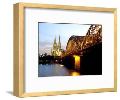 Cologne Cathedral and Hohenzollern Bridge at Night, Cologne, North Rhine Westphalia, Germany-Yadid Levy-Framed Photographic Print
