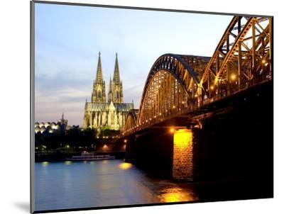 Cologne Cathedral and Hohenzollern Bridge at Night, Cologne, North Rhine Westphalia, Germany-Yadid Levy-Mounted Photographic Print