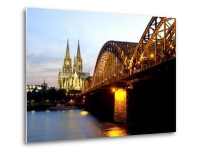 Cologne Cathedral and Hohenzollern Bridge at Night, Cologne, North Rhine Westphalia, Germany-Yadid Levy-Metal Print