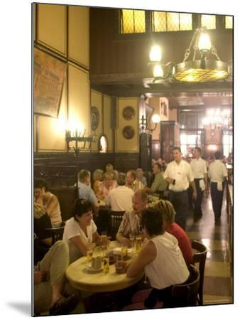 People Sitting Inside the Fruh Am Dom Beer Hall in the Altstadt, Cologne, North Rhine Westphalia-Yadid Levy-Mounted Photographic Print