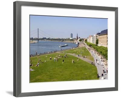 View Over the Rheinuferpromenade Along the River Rhine Towards the Old City, North Rhine Westphalia-Yadid Levy-Framed Photographic Print