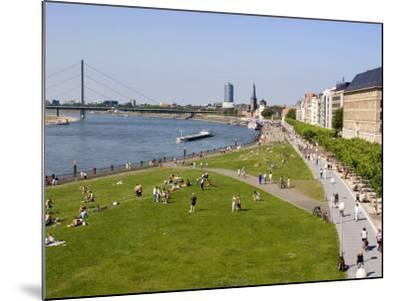View Over the Rheinuferpromenade Along the River Rhine Towards the Old City, North Rhine Westphalia-Yadid Levy-Mounted Photographic Print