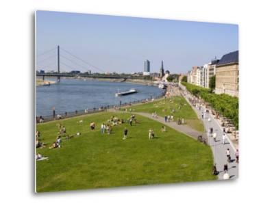 View Over the Rheinuferpromenade Along the River Rhine Towards the Old City, North Rhine Westphalia-Yadid Levy-Metal Print