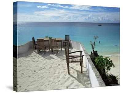 Balcony Overlooking Indian Ocean, Nungwi Beach, Island of Zanzibar, Tanzania, East Africa, Africa-Yadid Levy-Stretched Canvas Print