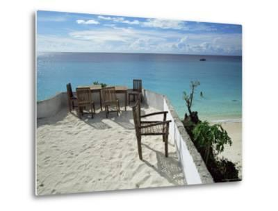 Balcony Overlooking Indian Ocean, Nungwi Beach, Island of Zanzibar, Tanzania, East Africa, Africa-Yadid Levy-Metal Print