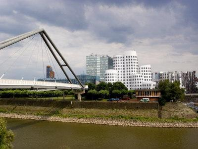 The Neuer Zollhof Buildings by Frank Gehry at the Medienhafen, Dusseldorf, North Rhine Westphalia-Yadid Levy-Framed Photographic Print