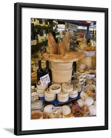 Cheese and Bread on Food Stall at Viktualienmarkt, Munich, Bavaria, Germany-Yadid Levy-Framed Photographic Print